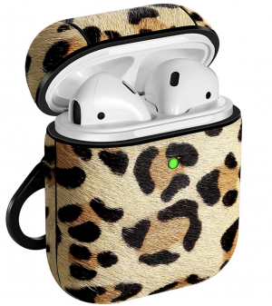 Leather Case for Apple AirPods, DMMG Pony Hair Leather Protective Case Cover (Leopard)